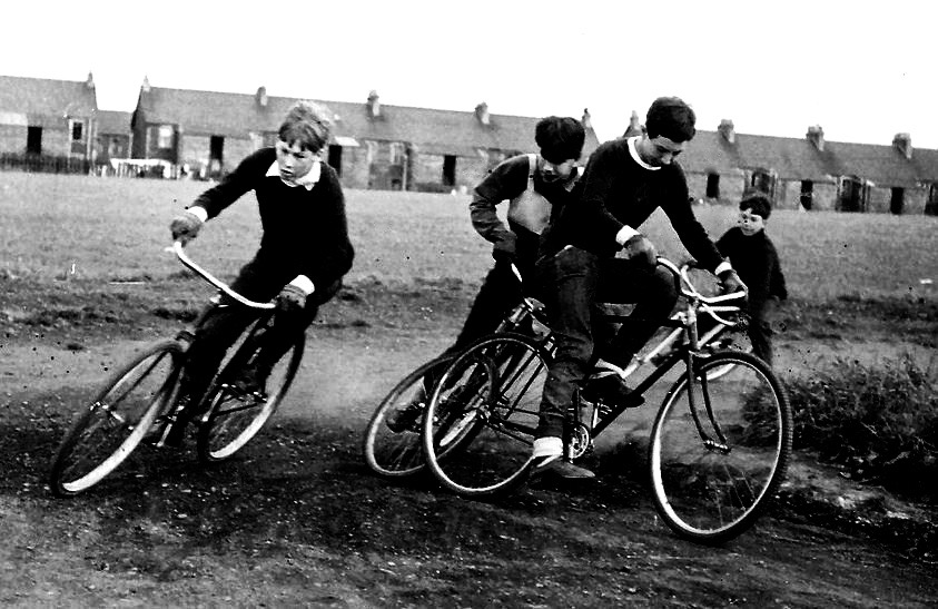 Alex Cropley and George Waddell, Jewel Track, Edinburgh, Scotland, 1965.
